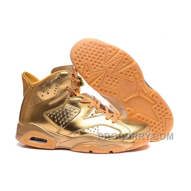 pretty nice 559d2 e36c6 2016 New Air Jordan 6 All Gold Custom Shoes Free Shipping Cheap