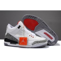 Big Size Air Jordan 3 Retro White/Cement Grey-Fire Red Cheap For Sale
