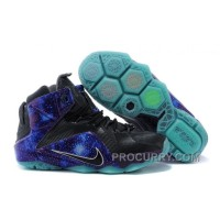 "Cheap Nike LeBron 12 ""Galaxy Glow"" Custom Black Blue For Sale Free Shipping"