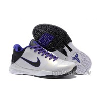 Nike Zoom Kobe 5 White/Black/Purple For Sale