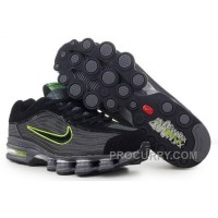 Men's Nike Air Max Shox R4 Shoes Black/Dark Grey/Green Discount