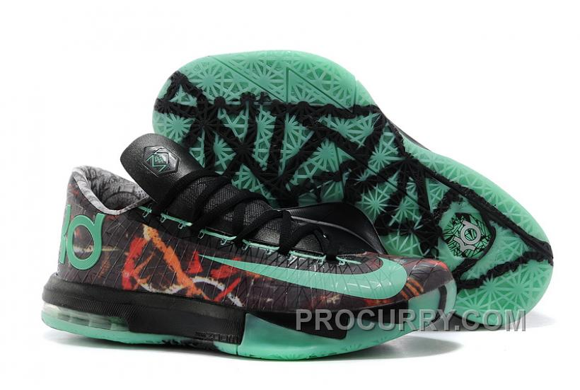 "5dd66495d785 Nike Kevin Durant KD 6 VI ""Illusion"" All-Star Multi-Color Green Glow-Black  For Sale Online"
