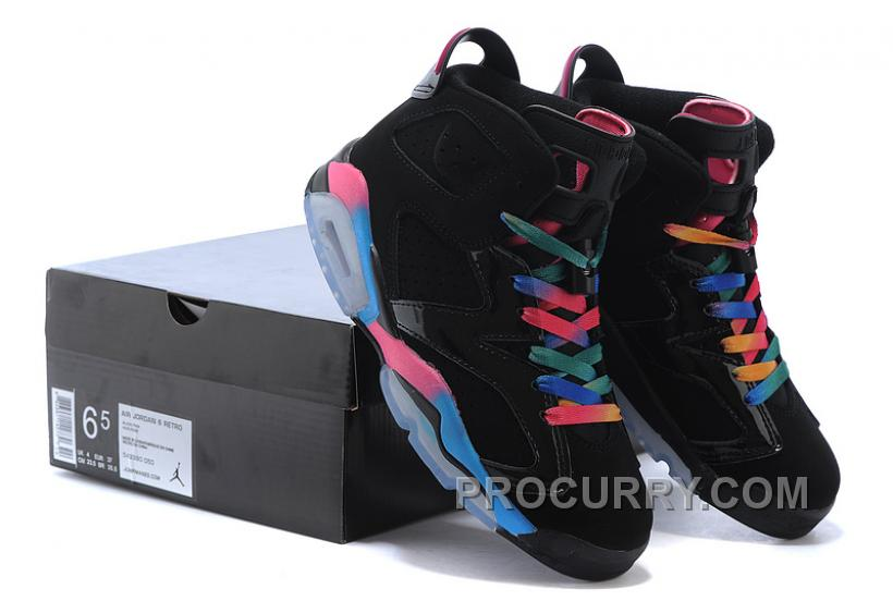 Air Jordan 6 Retro GS Black/Pink Flash-Marina Blue Womens Size Online